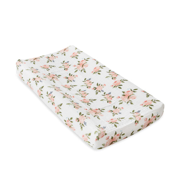 Little Unicorn: Muslin Changing Pad Cover - Watercolour Roses