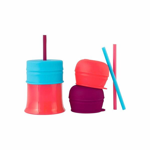Boon Snug Straw with Cup - Pink/Purple/Blue