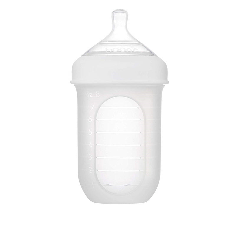 Boon Nursh Silicone Bottle - White (8oz)