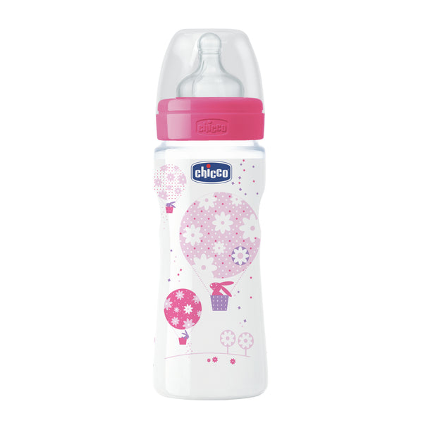 Chicco: Well-Being Silicone Bottle - 4m+ 330ml (Girl)