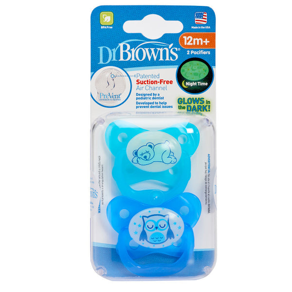 Dr Brown's PreVent Glow In The Dark Pacifier Blue Stage 3 - 12mths+ (2 Pack)