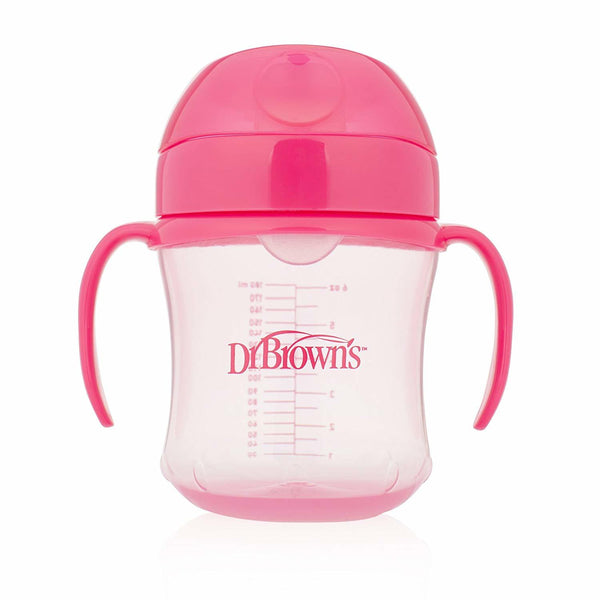Dr Brown's Soft-Spout Transition Cup with Handles 180ml - Pink (6m+)