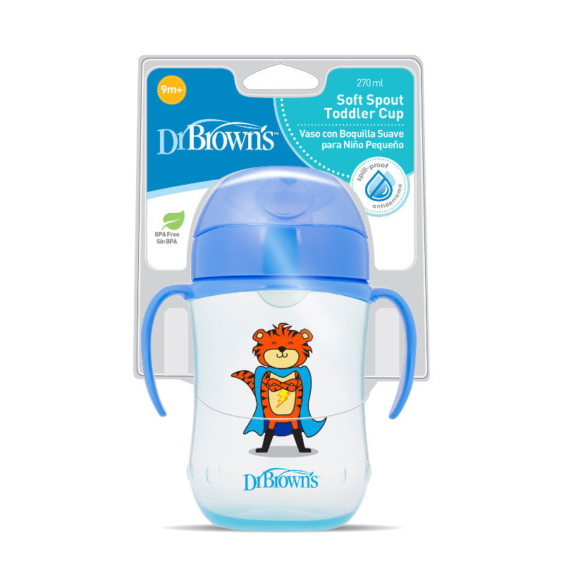 Dr Brown's Soft-Spout Transition Cup with Handles 270ml - Blue (9m+)