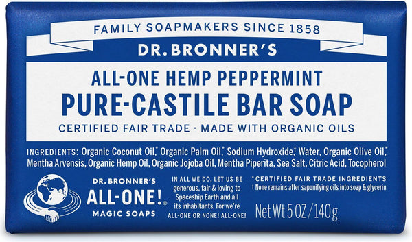 Dr. Bronner's Pure Castile Soap Bar - Peppermint (140g)