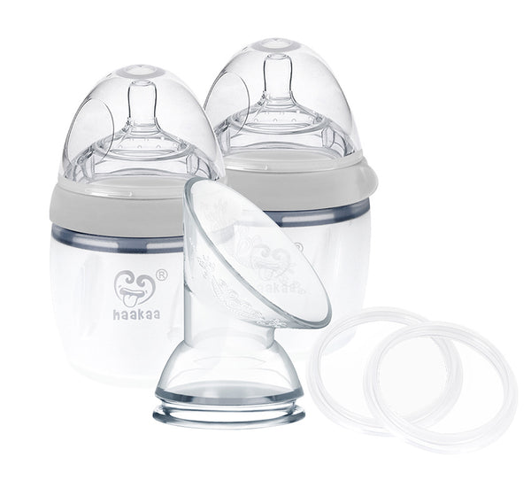 Haakaa: Generation 3 Silicone Breast Pump and Bottle Pack - Gray (160m)