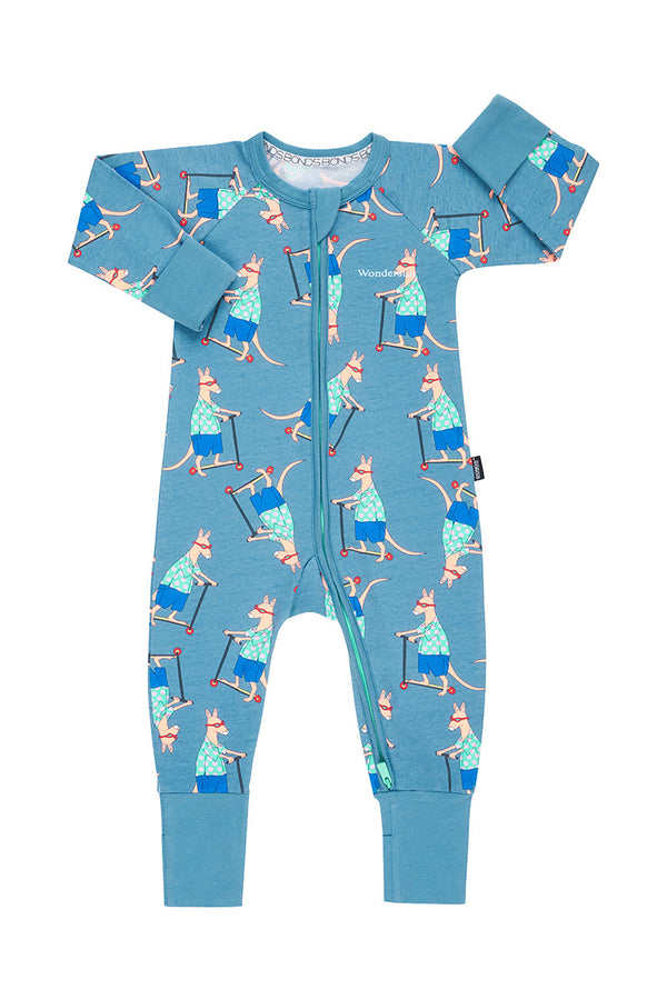 Bonds Zip Wondersuit Long Sleeve - Scooter Roo Ig Blue (3-6 Months)