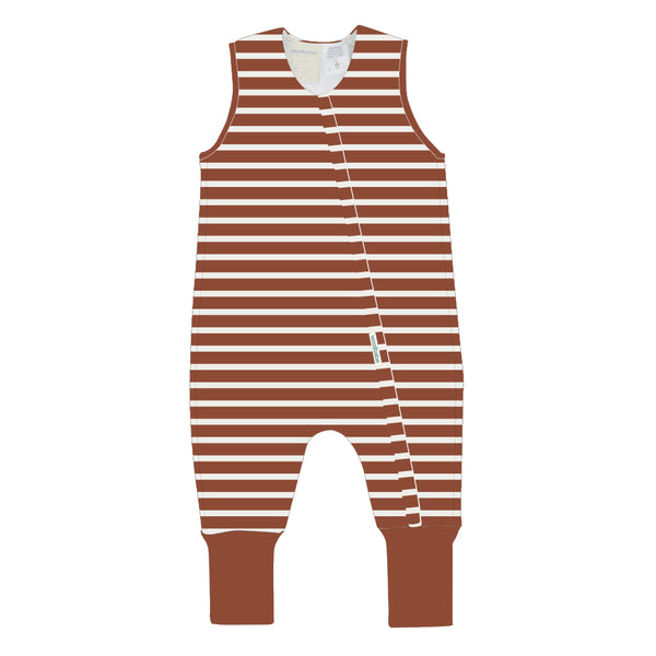 Woolbabe: Duvet Sleeping Suit Lava Stripe - 4 year
