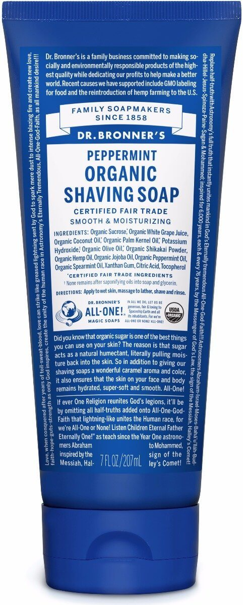 Dr Bronner's - Peppermint Organic Shaving Soap (208ml)