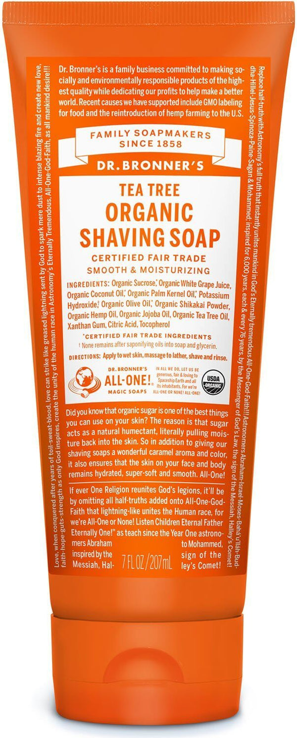 Dr Bronner's - Tea Tree Organic Shaving Soap (208ml)