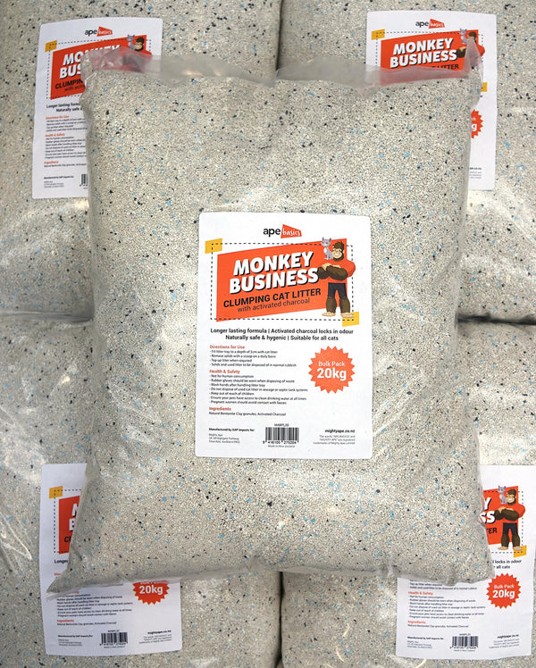 Monkey Business Cat Litter - Active Charcoal Clumping (20kg)