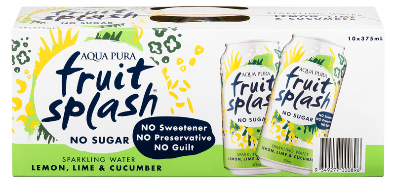 Aqua Pura Fruit Splash Lemon, Lime & Cucumber 375ml (10 Pack)