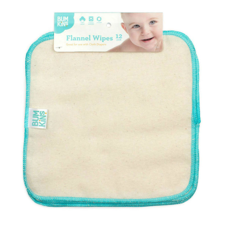 Bumkins: Reusable Baby Wipes - Natural/Aqua Trim (12Pk)