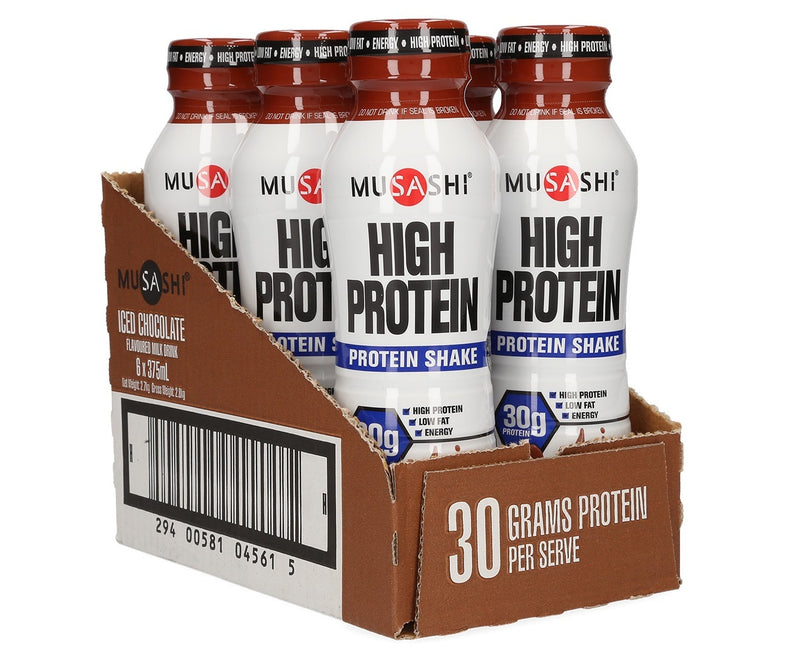 Musashi Hi Protein RTD Drink - Iced Chocolate 375mL (Box of 6)