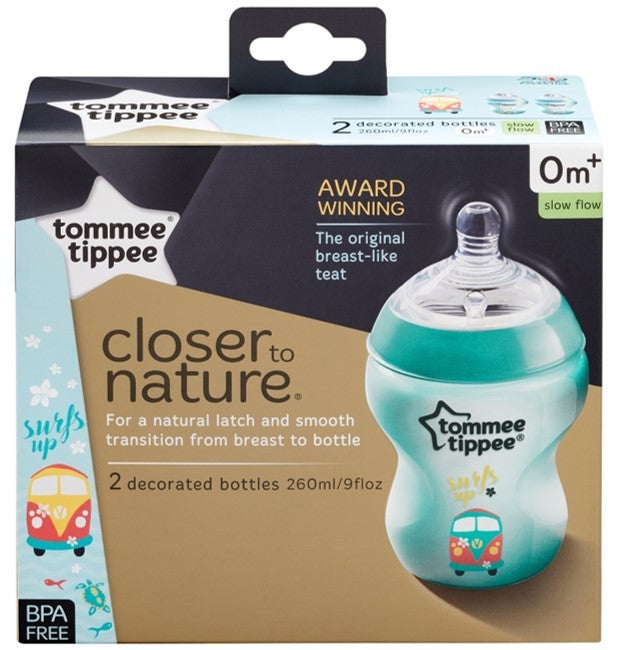 Closer to Nature Decorated Feeding Bottle (260ml) 2 Pack - Blue