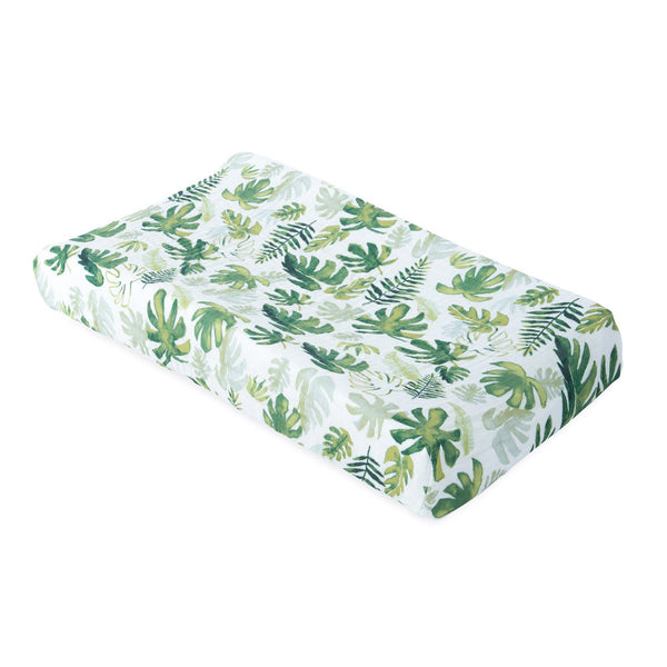 Little Unicorn: Muslin Changing Pad Cover - Tropical Leaf