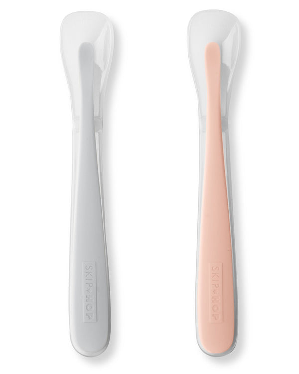 Skip Hop: Easy-Feed Spoons - 2-Pack (Grey/Coral)