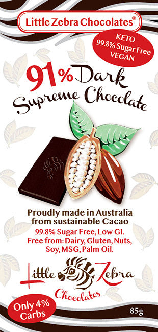 Little Zebra Chocolates: 91% Dark Supreme Chocolate