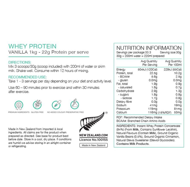 PURE Whey Protein Powder Sachets - Vanilla Bean (Box of 25)