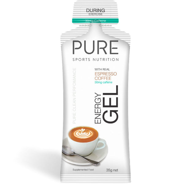 PURE Energy Gels - Espresso Coffee w 30mg Caffiene (Box 24)