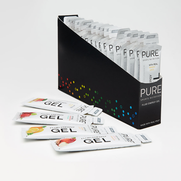 PURE Fluid Energy Gels W30mg Caffeine - Lemon Lime (Box of 18)