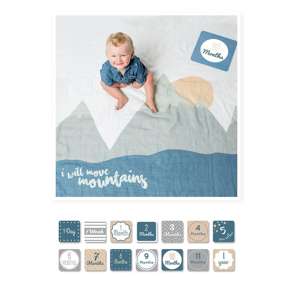 Lulujo's Baby First Year Milestone Blanket & Cards Set - I Will Move Mountains