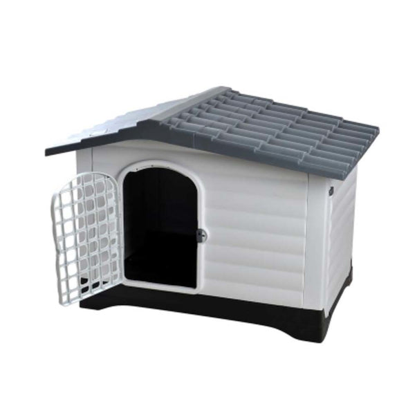 Ape Basics: Outdoor Windproof and Rainproof Dog House with Door - Gray