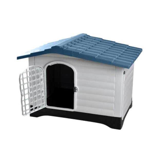 Ape Basics: Outdoor Windproof and Rainproof Dog House with Door - Blue