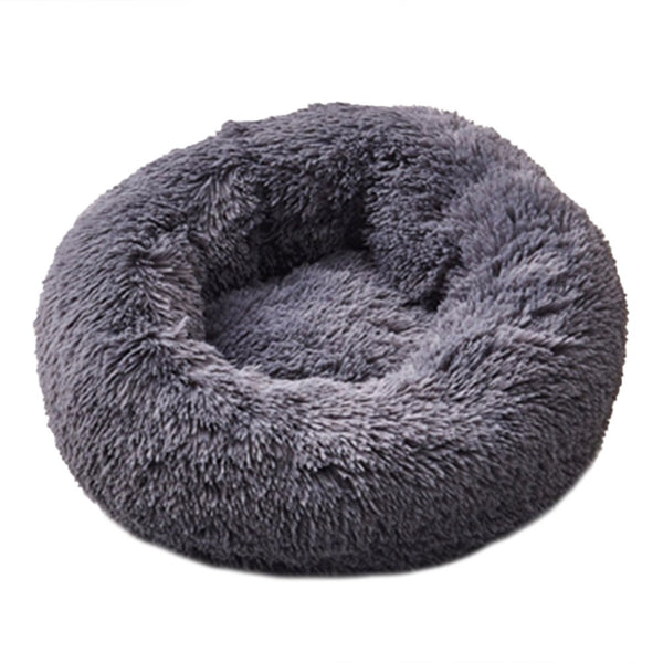 Ape Basics: Long Plush Warm Round Pet Bed - Dark Gray (Medium)