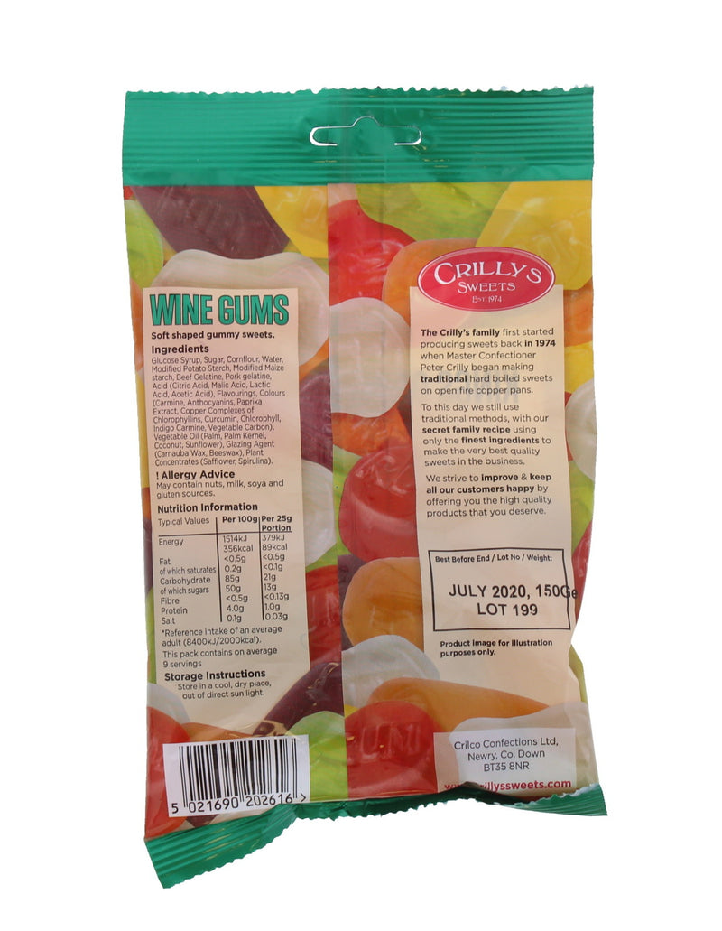 Crillys: Wine Gums 150g (16 Pack)