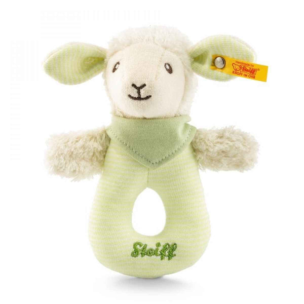 Steiff: Lenny Lamb Grip Toy with Rattle - Green
