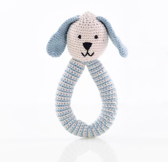 Pebble: Organic Crochet Bunny Rattle - Blue