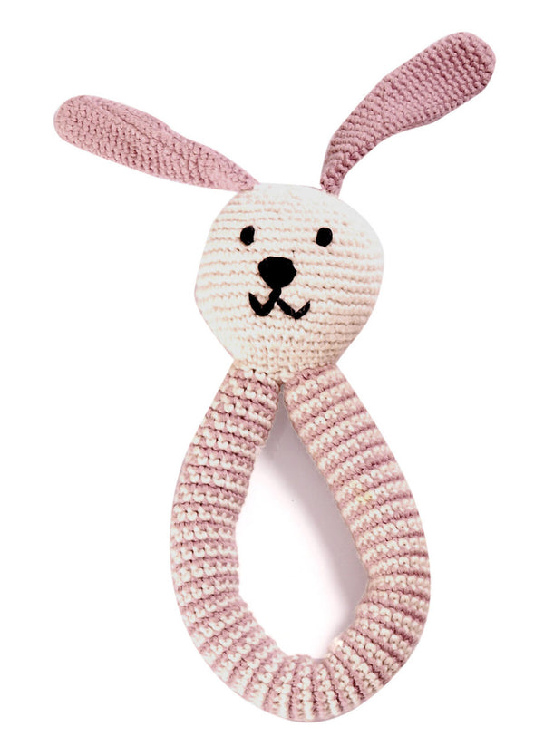 Pebble: Organic Crochet Bunny Rattle - Pink