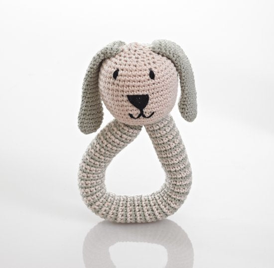 Pebble: Organic Crochet Bunny Rattle - Teal