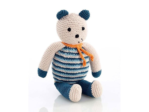 Pebble: Organic Crochet Bear - Petrol Blue