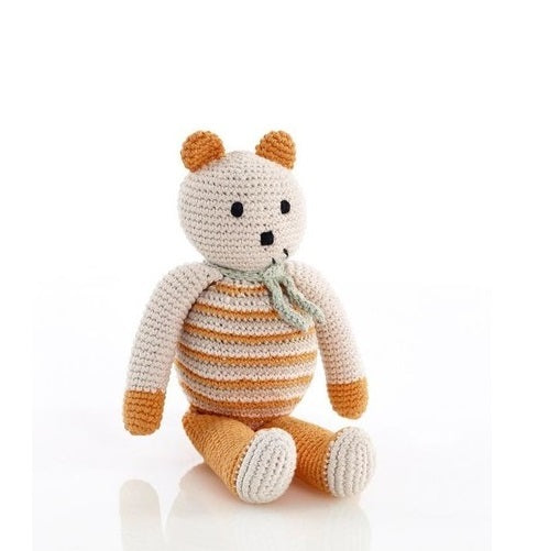 Pebble: Organic Crochet Bear - Soft Orange