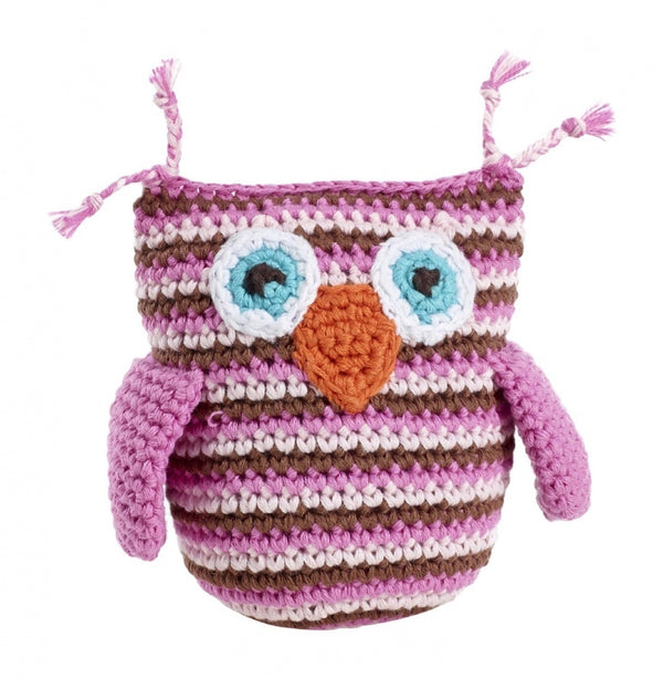 Pebble: Crochet Owl Rattle - Pink