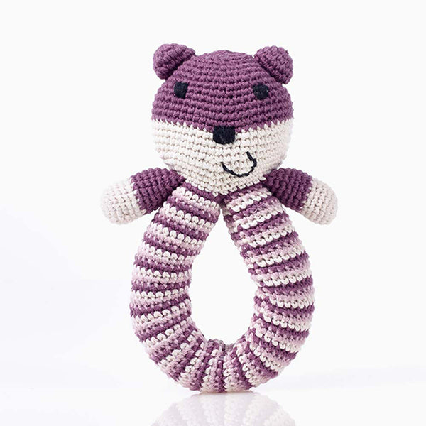 Pebble: Organic Crochet Bear Rattle - Purple