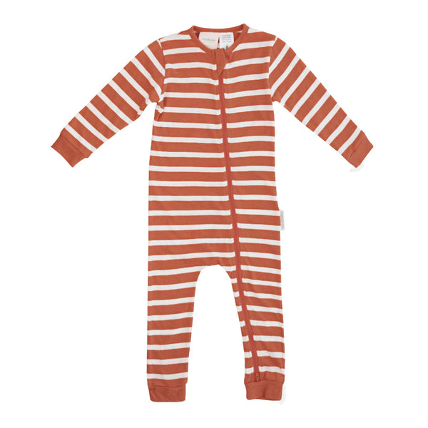 Woolbabe: Merino/Organic Cotton PJ Suit Lava Stripe - 1 Year