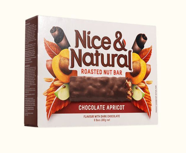 Nice & Natural Roasted Nut Bar - Chocolate Apricot 180g (8 Box Value Pack)