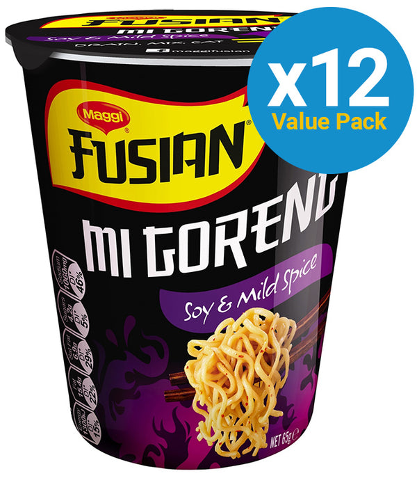 Maggi Fusian Cup Noodles - Mi Goreng Soy & Mild Spice 64g (12 Pack)