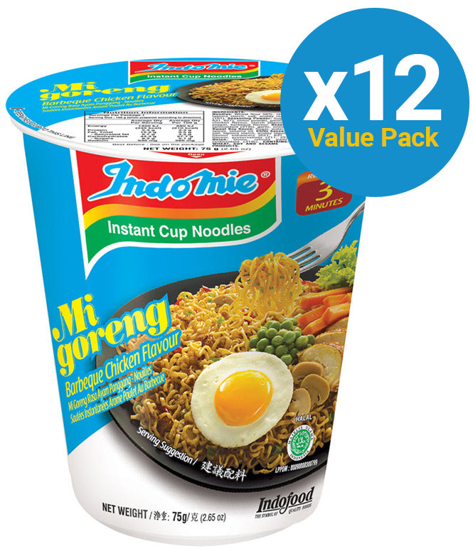 Indomie Cup Noodles - BBQ Chicken 75g (12 Pack)