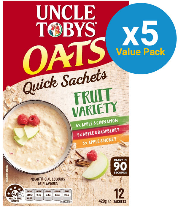 Uncle Tobys Oats Variety Fruit 420g (5 Box Value Pack)