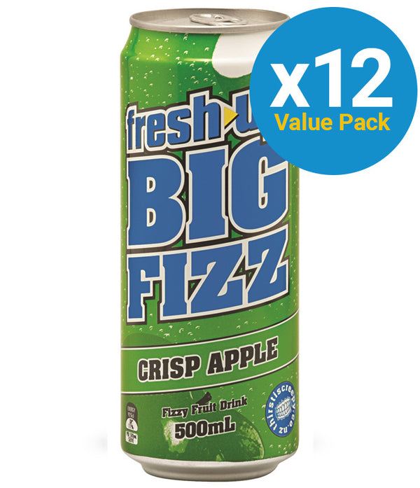 Fresh Up Big Fizz Crisp Apple 500ml (12 Pack)