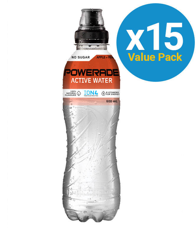 Powerade Active Water Peach & Apple 750ml (15 Pack)