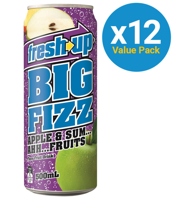 Fresh Up Big Fizz Apple & Sum Ahh Fruits 500ml (12 Pack)