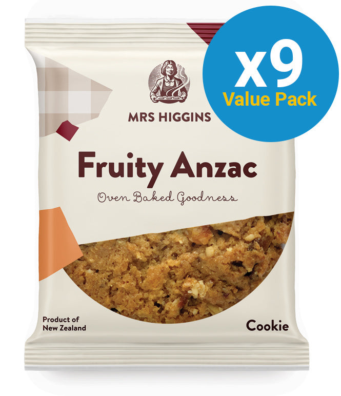 Mrs Higgins: Fruity Anzac Cookie 85g (9 Pack)