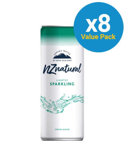 NZ Natural 250ml Sparkling Spring Water Cans (8 Pack)