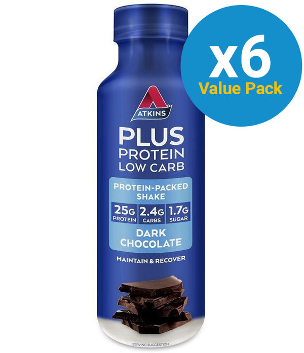Atkins PLUS Protein-Packed RTD - Dark Chocolate (Pack of 6)