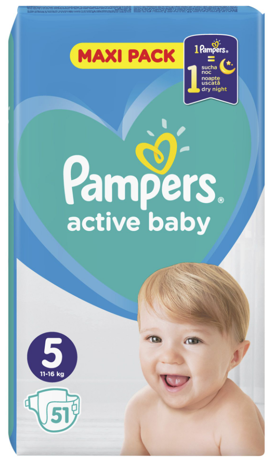 Pampers: Active Baby Nappies - Junior Size 5 (51 pack)