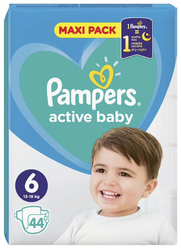 Pampers: Active Baby Nappies - XL Size 6 (44 pack)